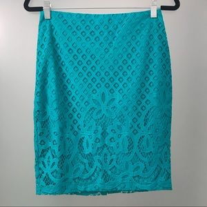 New Teal LOFT Lace Pencil Skirt - with tags!